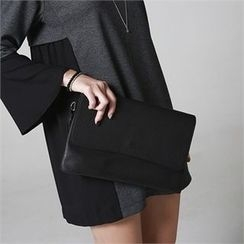 JVLLY - Tasseled Faux-Leather Clutch with Strap