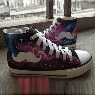 HVBAO - Painted Moustache Galaxy Canvas Sneakers