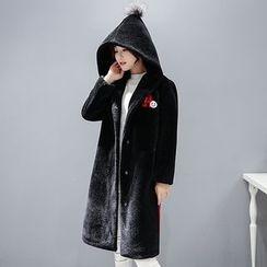 Romantica - Pompom-Accent Hooded Coat