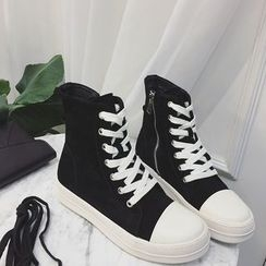 Zapatos - Genuine Leather High-Top Sneakers