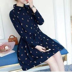 Soswift - 孕婦印花長袖襯衫裙