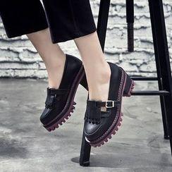 VIAN - Round Toe Fringed Platform Shoes
