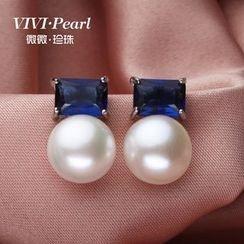 微微珍珠 - 水鑽淡水珍珠耳環