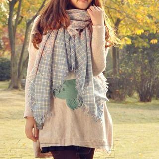 RGLT Scarves - Fringed Plaid Floral Wool Scarf