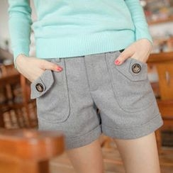 Tokyo Fashion - Wool-Blend Button-Accent Cuffed Shorts