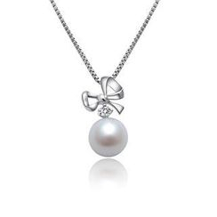 MaBelle - 《Precious Love》18K/750 White Gold Bow Diamond/ Pearl Pendant (Free 18K/750 White Gold Necklace 16')
