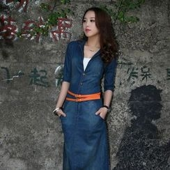 Neeya - V-Neck Maxi Denim Dress
