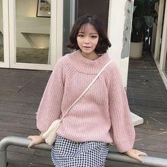 MePanda - 純色七分袖粗織毛衣