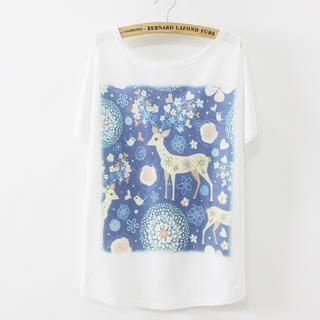 LULUS - Short-Sleeve Deer-Print T-Shirt