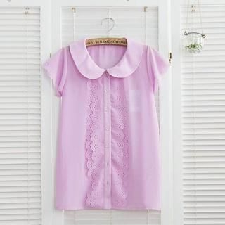 11.STREET - Peter Pan-Collar Chiffon Blouse