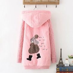 Angel Love - Applique Hooded Long Jacket