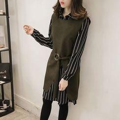 ANGELA - Set: Striped Long-Sleeve Shirtdress + Sleeveless Knit Long Vest