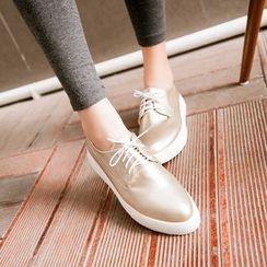 缤纷女鞋 - 厚底尖头系带鞋