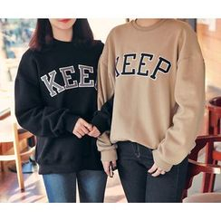 HOTPING - Round-Neck Lettering Pullover