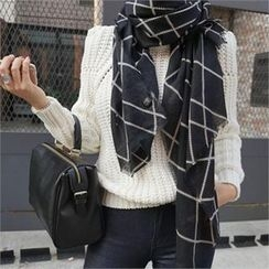 LIPHOP - Light Wool Blend Check Scarf