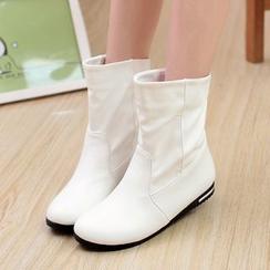 Shoes Galore - Plain Faux Leather Boots