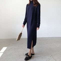 Seoul Fashion - Tied-Waist Sweater Dress