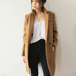 OTTI - Plain Notch Lapel Long Coat