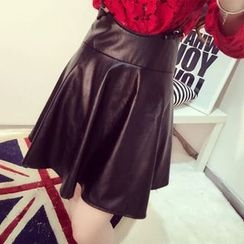 RUI - A-Line Faux Leather Jumper Skirt