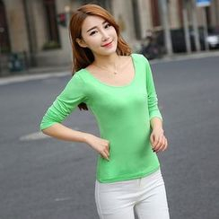 潮流生活 - 纯色长袖T恤