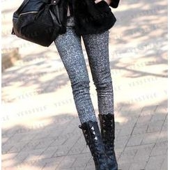 SO Central - Elastic-Waist Patterned Skinny Pants