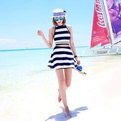 DABAGIRL - Set: Halter Backless Stripe Top + A-Line Mini Skirt