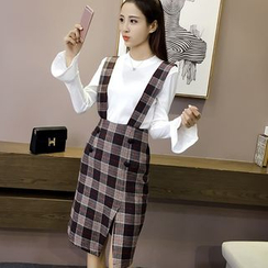 Oaksa - Plaid Midi Suspender Skirt
