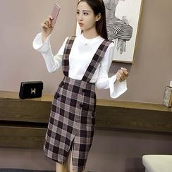 Oaksa - 格纹背带中裙