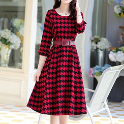 Romantica - Wool Blend Long-Sleeve Houndstooth Dress