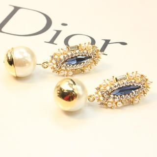 Supermary - Jeweled Faux-Pearl Earrings