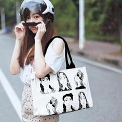 SUPER LOVER - Printed Canvas Shoulder Bag