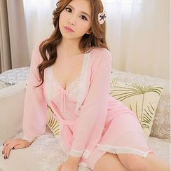 Le Boudoir - Set: Chiffon Robe + Nightdress