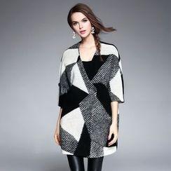 歐依潮派 - 中袖圖案羊毛外套