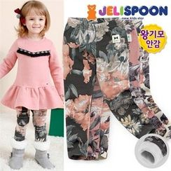JELISPOON - Girls Brushed-Fleece Lined Flower Patterned Leggings