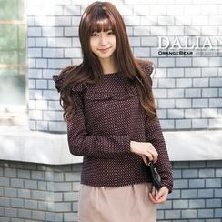 OrangeBear - Long-Sleeve Dotted Ruffled Top