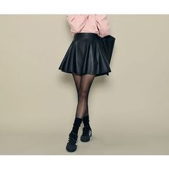 HOTPING - Band-Waist Faux-Leather Skirt