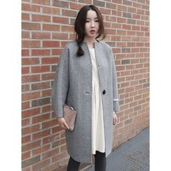 maybe-baby - Stitched-Trim Checked Wool Coat
