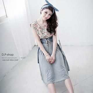 D.P-Shop - Lace Up-Front Denim-Panel Cotton Skirt With Suspender