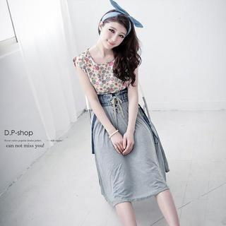 D.P-Shop - Lace Up-Front Denim-Panel Cotton Skirt With Suspender