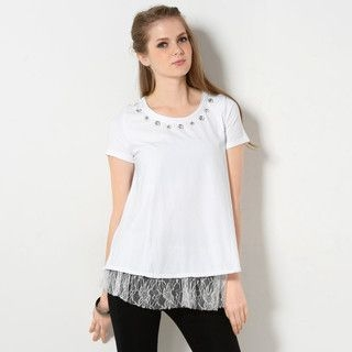 59 Seconds - Jeweled Lace Peplum Hem Top