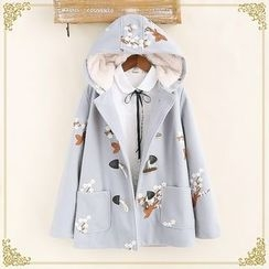 Fairyland - Floral Embroidered Hooded Toggle Coat