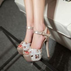 JY Shoes - Rhinestone Platform High Heel Sandals