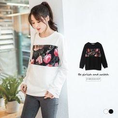 OrangeBear - Floral Print Patch Sweatshirt