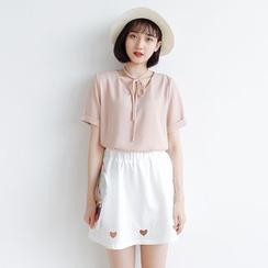 Forest Girl - Tie Neck Short Sleeve V-Neck T-Shirt