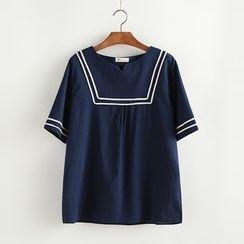 Lemon Town - Sailor Style Short-Sleeve Blouse