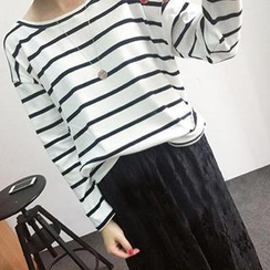 Dute - Long-Sleeve Striped T-Shirt