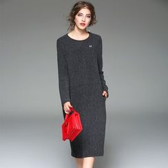 Y:Q - Long-Sleeve Midi Sheath Dress