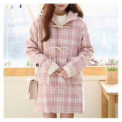 Sechuna - Check-Patterned Hoodie Coat