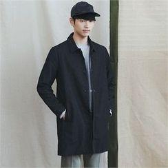 MITOSHOP - Single-Breasted Denim Long Jacket