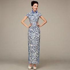 Posh Bride - Cap-Sleeve Floral Print Cheongsam